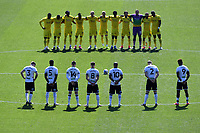 Players of Wycombe Wanderers and Swansea City take part in a minute silence in respect to Prince Philip during the Sky Bet Championship match Swansea City and Wycombe Wanderers at Liberty Stadium in Swansea, Wales. Sporting stadiums around the UK remain under strict restrictions due to the Coronavirus Pandemic as Government social distancing laws prohibit fans inside venues resulting in games being played behind closed doors.<br /> Saturday 17 April 2021