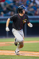 Brett Phillips (8) of the Quad Cities River Bandits hustles down the first base line against the Bowling Green Hot Rods at Bowling Green Ballpark on July 26, 2014 in Bowling Green, Kentucky.  The River Bandits defeated the Hot Rods 9-2.  (Brian Westerholt/Four Seam Images)