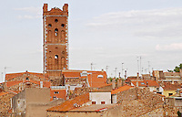 The village on the Agly river. Church tower and rooftops. Rivesaltes town, Roussillon, France