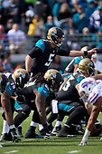 Jacksonville Jaguars quarterback Blake Bortles (5) directs the line during an NFL Wild-Card football game against the Buffalo Bills, Sunday, January 7, 2018, in Jacksonville, Fla.  (Mike Janes Photography)