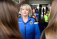 20180414 - AALTER , BELGIUM : Brugge's B-team delegate Iris Maertens pictured during the 21st matchday in the 2e Nationale Women's league , a womensoccer game between Club Brugge Dames and GFA Sinaai , in Aalter , saturday 15 th April 2018 . PHOTO SPORTPIX.BE   DAVID CATRY