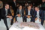Cadel Evans (AUS), Alberto Contador (ESP), newly crowned World Champion Michal Kwiatkowski (POL) and Rigoberto Uran (COL) among the guests at the Giro d'Italia 2015 presentation, Milan, Italy. 6th October 2014. <br /> Photo:Fabio Ferrari/LaPresse/www.newsfile.ie