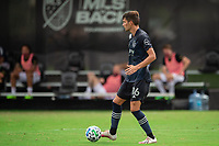 LAKE BUENA VISTA, FL - JULY 22: Graham Smith #16 of Sporting Kansas City dribbles the ball during a game between Real Salt Lake and Sporting Kansas City at Wide World of Sports on July 22, 2020 in Lake Buena Vista, Florida.