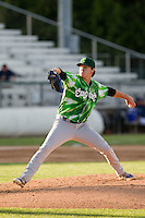 Eugene Emeralds pitcher Justin Steele (21) delivers a pitch during a game against the Everett Aquasox at Everett Memorial Stadium in Everett, Washington.  Eugene defeated Everett 7-5. (Ronnie Allen/Four Seam Images)