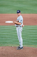 West Michigan Whitecaps relief pitcher Billy Lescher (38) looks in for the sign during a game against the Quad Cities River Bandits on July 22, 2018 at Modern Woodmen Park in Davenport, Iowa.  West Michigan defeated Quad Cities 6-4.  (Mike Janes/Four Seam Images)