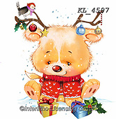 Interlitho-Fabrizio, Comics, CHRISTMAS ANIMALS, WEIHNACHTEN TIERE, NAVIDAD ANIMALES, paintings+++++,bear with antlers,KL4597,#xa#,sticker,stickers
