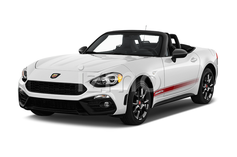 2018 Fiat 124-Spider Abarth 2 Door Convertible Angular Front stock photos of front three quarter view