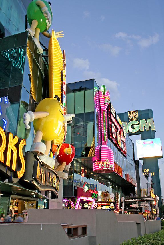 Bright neon lighting signs night The Strip Las Vegas Nevada