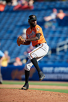 Baltimore Orioles relief pitcher Miguel Castro (50) delivers a pitch during a Grapefruit League Spring Training game against the Philadelphia Phillies on February 28, 2019 at Spectrum Field in Clearwater, Florida.  Orioles tied the Phillies 5-5.  (Mike Janes/Four Seam Images)