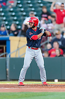 Memphis Redbirds third baseman Max Schrock (3) during a Pacific Coast League game against the Omaha Storm Chasers on April 26, 2019 at Werner Park in Omaha, Nebraska. Memphis defeated Omaha 7-3. (Zachary Lucy/Four Seam Images)