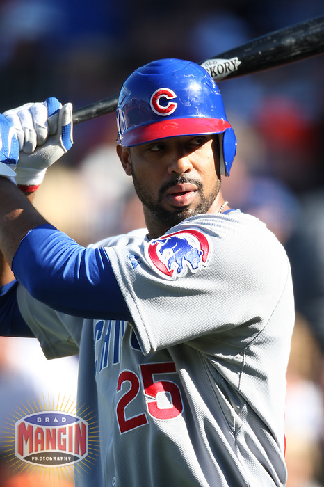 SAN FRANCISCO - JULY 3:  Derrek Lee of the Chicago Cubs bats during the game against the San Francisco Giants at AT&T Park in San Francisco, California on July 3, 2008.  The Giants defeated the Cubs 8-3.  Photo by Brad Mangin