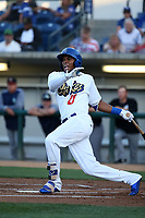 Yusniel Diaz (21) of the Rancho Cucamonga Quakes bats against the Modesto Nuts at LoanMart Field on June 5, 2017 in Rancho Cucamonga, California. Rancho Cucamonga defeated Modesto, 7-5. (Larry Goren/Four Seam Images)