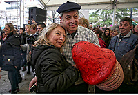 Pictured: A man and a woman embrace holding a penis-shaped object in Tirnavos, central Greece. 19 February 2018<br /> Re: Bourani (or Burani) the infamous annual carnival which dates to 1898 which takes place on the day of (Clean Monday), the first days of Lent in Tirnavos, central Greece, in which men hold phallus shaped objects as scepters in their hands.