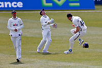 Yorkshire's Jordan Thompson (R) celebrates taking the wicket of Joe Denly during Kent CCC vs Yorkshire CCC, LV Insurance County Championship Group 3 Cricket at The Spitfire Ground on 18th April 2021