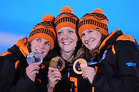 OLYMPICS: SOCHI: 17-02- 2014, Ireen Wust, Jorien ter Mors, Lotte van Beek, 1500m Lady's ©photo Martin de Jong