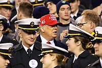 Philadelphia, PA - December 14, 2019:     President Donald Trump sits with the Midshipmen during the 120th game between Army vs Navy at Lincoln Financial Field in Philadelphia, PA. (Photo by Elliott Brown/Media Images International)