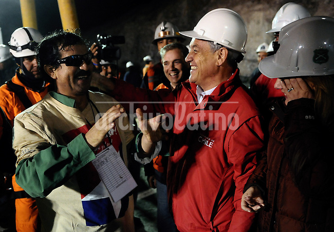 President of Chile Sebastian Piñera receives the third miner rescued Juan Illanes. Rescue in San Jose mine, north of Chile