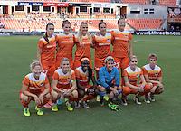 Houston, TX - Thursday Aug. 18, 2016: Houston Dash Starting XI prior to a regular season National Women's Soccer League (NWSL) match between the Houston Dash and the Washington Spirit at BBVA Compass Stadium.