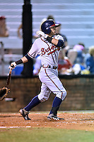 Danville Braves second baseman Omar Obregon #2 swings at a pitch during a game against the Johnson City Cardinals at Howard Johnson Field September 4, 2014 in Johnson City, Tennessee. The Braves defeated the Cardinals 6-1. (Tony Farlow/Four Seam Images)