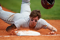 Minnesota Golden Gophers center fielder Alex Boxwell (2) slides head first into third base during a game against the Boston College Eagles on February 23, 2018 at North Charlotte Regional Park in Port Charlotte, Florida.  Minnesota defeated Boston College 14-1.  (Mike Janes/Four Seam Images)