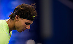 SHANGHAI, CHINA - OCTOBER 13:  Sweat drips off the face of Rafael Nadal of Spain during his match against Stanislas Wawrinka of Switzerland during day three of the 2010 Shanghai Rolex Masters at the Shanghai Qi Zhong Tennis Center on October 13, 2010 in Shanghai, China.  (Photo by Victor Fraile/The Power of Sport Images) *** Local Caption *** Rafael Nadal