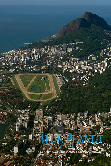 Aerial view from Jockey Club, Gavea neighborhood and Dois Irmaos Hill, Rio de Janeiro, Brazil