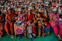 MUMBAI, MAHARASTRA, INDIA  - APRIL 20, 2014: Supporters of India's ruling Congress party attend an election rally for vice president Rahul Gandhi in Mumbai, India, Sunday, April 20, 2014. Gandhi, heir to the country's Nehru-Gandhi political dynasty, is leading the struggling party's campaign in the general election. <br /> <br /> Daniel Berehulak for The New York Times
