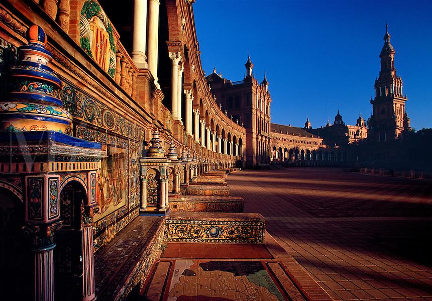 Plaza de Espana showing tile facade details Seville Spain.