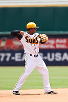 Osvaldo Martinez (2) of the Jacksonville Suns during a game vs. the Carolina Mudcats May 31 2010 at Baseball Grounds of Jacksonville in Jacksonville, Florida. Jacksonville won the game against Carolina by the score of 3-2. Photo By Scott Jontes/Four Seam Images