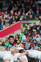Ugo Monye of Harlequins looks concerned during the Aviva Premiership match between Harlequins and Saracens at the Twickenham Stoop on Sunday 30th September 2012 (Photo by Rob Munro)