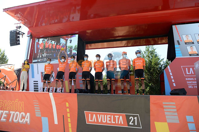 Euskaltel Euskadi best team after yesterday's stage at sign on before Stage 3 of La Vuelta d'Espana 2021, running 202.8km from Santo Domingo de Silos to Picon Blanco, Spain. 16th August 2021.    <br /> Picture: Cxcling | Cyclefile<br /> <br /> All photos usage must carry mandatory copyright credit (© Cyclefile | Cxcling)