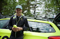 former rider Ivan Basso (ITA/Tinkoff) waiting for the Tinkoff riders to check the times & hand out bidons up the Montée de Bisanne (HC/1723m/12.4km/8.2%)<br /> <br /> Stage 19:  Albertville › Saint-Gervais /Mont Blanc (146km)<br /> 103rd Tour de France 2016
