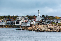 Waterfront view of a coastal New England town, Rockport, Massachusetts, USA