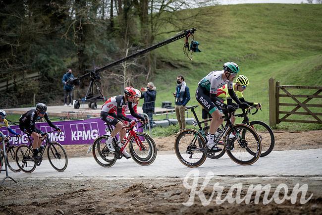 Jordi Meeus (BEL/BORA - hansgrohe) up the brutal Moskesstraat<br /> <br /> 61st Brabantse Pijl 2021 (1.Pro)<br /> 1 day race from Leuven to Overijse (BEL/202km)<br /> <br /> ©kramon