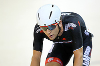 Aaron Gate competes in the madison at the BikeNZ Elite & U19 Track National Championships, Avantidrome, Home of Cycling, Cambridge, New Zealand, Sunday, March 16, 2014. Credit: Dianne Manson