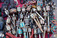 Kathmandu, Nepal.  Miniature Prayer Wheels for Sale at Swayambhunath Temple.