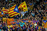 Fans of FC Barcelona cheer during the La Liga match between FC Barcelona vs RCD Espanyol at the Camp Nou on 09 September 2017 in Barcelona, Spain. Photo by Vicens Gimenez / Power Sport Images