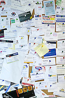 Noticeboard filled with business cards, Able Skills, Dartford, Kent.