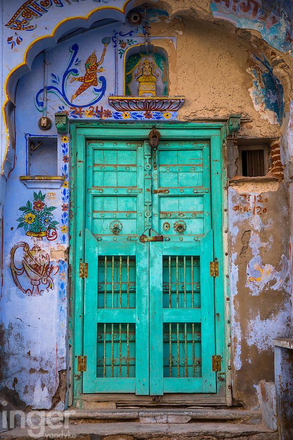 Intricate, beautiful doorway of Sambhar, Rajasthan