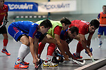 Mannheim, Germany, January 18: During the 1. Bundesliga Herren Hallensaison 2014/15 Sued hockey match between Mannheimer HC (blue) and TSV Mannheim (red) on January 18, 2015 at Irma-Roechling-Halle in Mannheim, Germany. Final score 4-6 (4-4). (Photo by Dirk Markgraf / www.265-images.com) *** Local caption ***