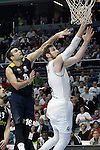 Real Madrid's Andres Nocioni (r) and Fenerbahce Istambul's Kostas Sloukas during Euroleague Quarter-Finals 3rd match. April 19,2016. (ALTERPHOTOS/Acero)