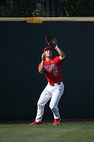 Mitchell Morimoto (16) of the Arizona Wildcats waits to catch a fly ball during a game against the UCLA Bruins at Jackie Robinson Stadium on March 19, 2017 in Los Angeles, California. UCLA defeated Arizona, 8-7. (Larry Goren/Four Seam Images)