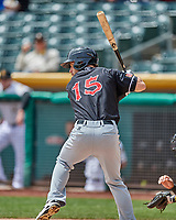 Dusty Coleman (15) of the El Paso Chihuahuas at bat against the Salt Lake Bees in Pacific Coast League action at Smith's Ballpark on April 30, 2017 in Salt Lake City, Utah. El Paso defeated Salt Lake 3-0. This was Game 1 of a double-header. (Stephen Smith/Four Seam Images)