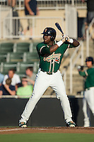 K.J. Woods (32) of the Greensboro Grasshoppers at bat against the Kannapolis Intimidators at CMC-Northeast Stadium on August 1, 2015 in Kannapolis, North Carolina.  The Intimidators defeated the Grasshoppers 7-4.  (Brian Westerholt/Four Seam Images)