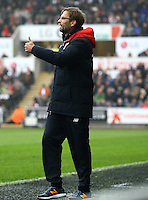 Liverpool manager Jurgen Klopp gives a thumbs up during the Barclays Premier League match between Swansea City and Liverpool played at the Liberty Stadium, Swansea on 1st May 2016