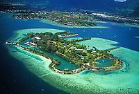 Oahu windward coastline and coconut island aerial.