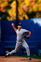Kevin Brown of the San Diego Padres participates in a Major League Baseball game at Dodger Stadium during the 1998 season in Los Angeles, California. (Larry Goren/Four Seam Images)