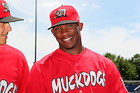 Batavia Muckdogs outfielder Rainel Rosario (30) during the first game of a double header vs. the Connecticut Tigers at Dwyer Stadium in Batavia, New York July 10, 2010.   Batavia defeated Connecticut 5-3.  Photo By Mike Janes/Four Seam Images