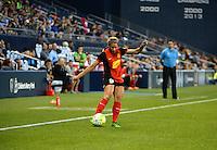 Kansas City, Kansas - Saturday April 16, 2016: Western New York Flash forward Lynn Williams (9) kicks the ball against FC Kansas City at Children's Mercy Park. Western New York won 1-0.