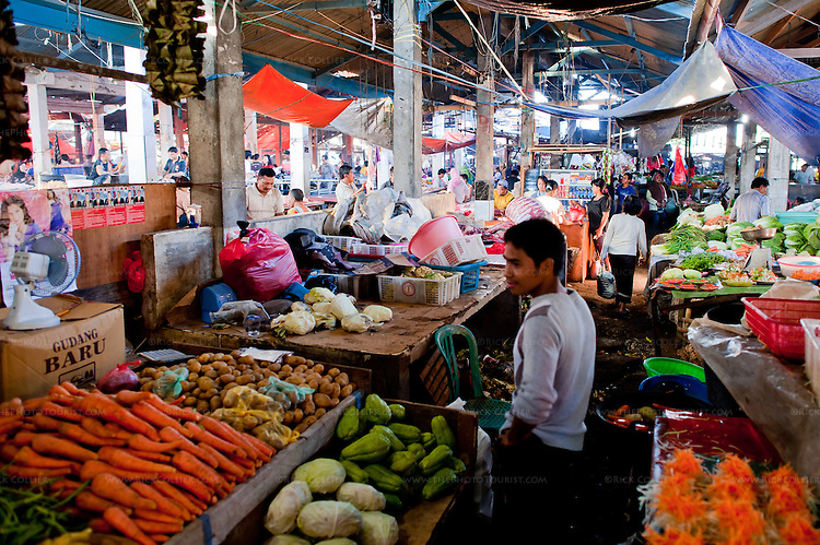 Produce displayed by small farmers inside the Aertembaga Market, in Bitung, North Sulawesi, Indonesia.